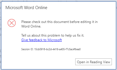 prompted to check out document when attempting to edit in