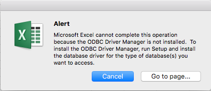 Connect to a MySQL database - Error Excel 2016 for Mac - Microsoft