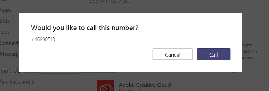 Teams can't make calls using the URL