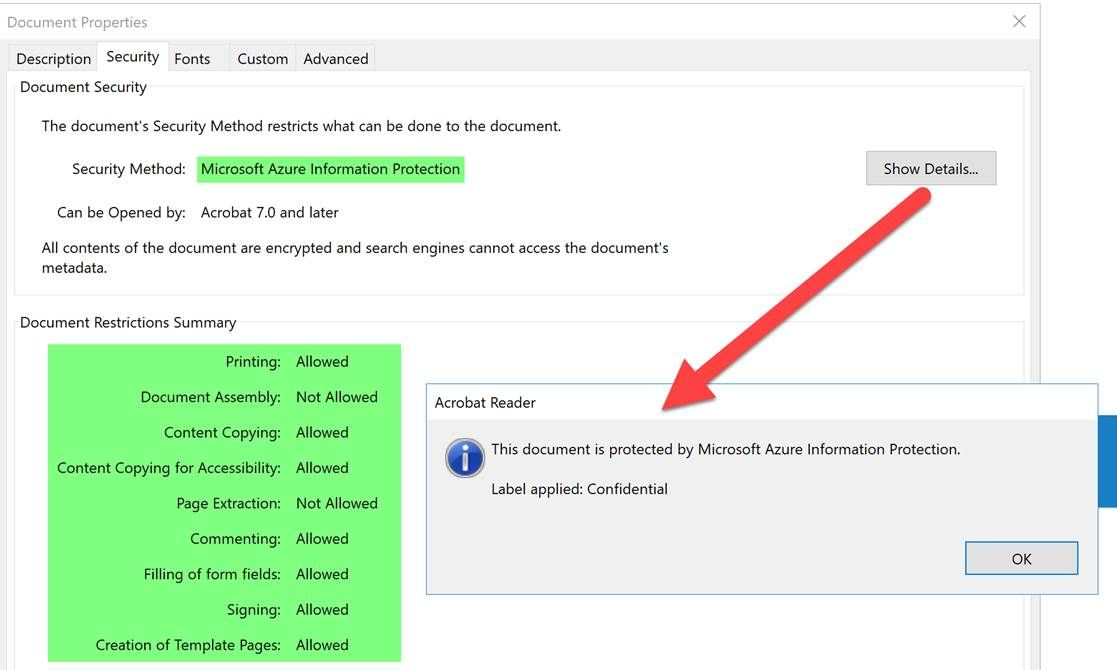 Using Azure Information Protection to protect PDF's and