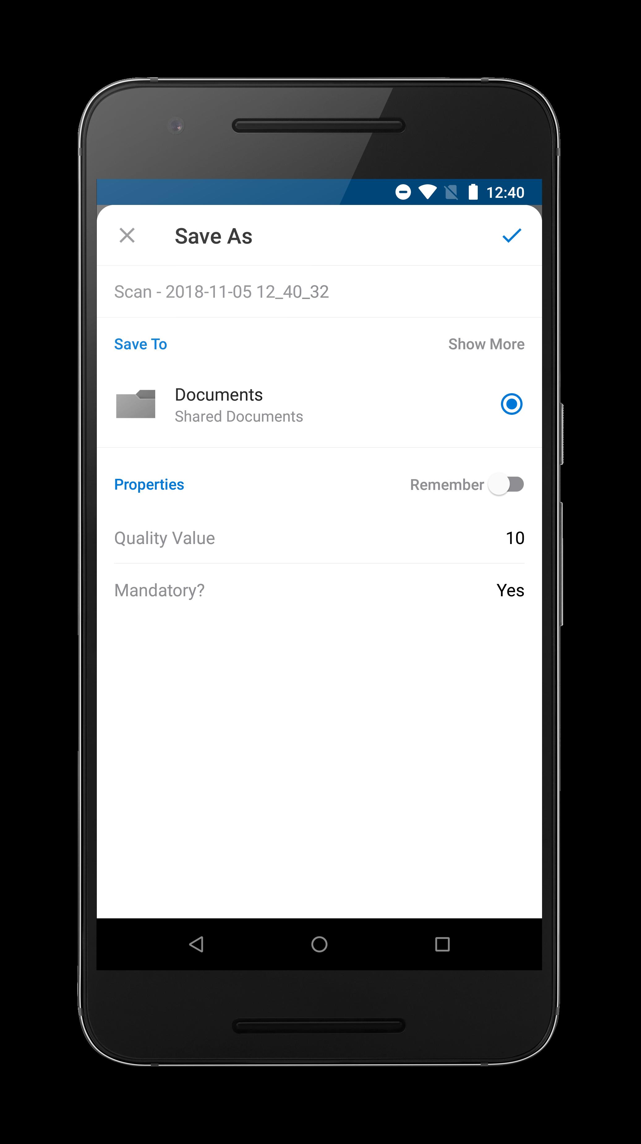 Captura móvel com metadados personalizados no OneDrive para Android.