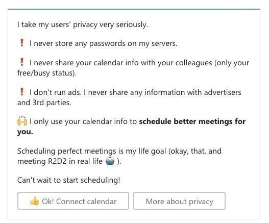 The Meekan app cares about your privacy.
