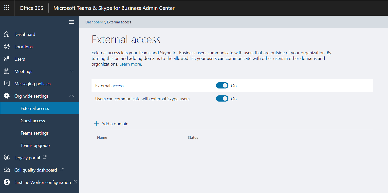 Communicate with an external Skype for Business user
