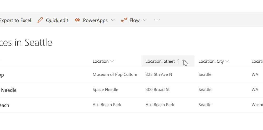 A SharePoint list of locations in Seattle sorted by street address