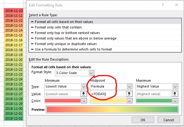 Excel 3-color scale based on dynamic data - Microsoft Tech Community