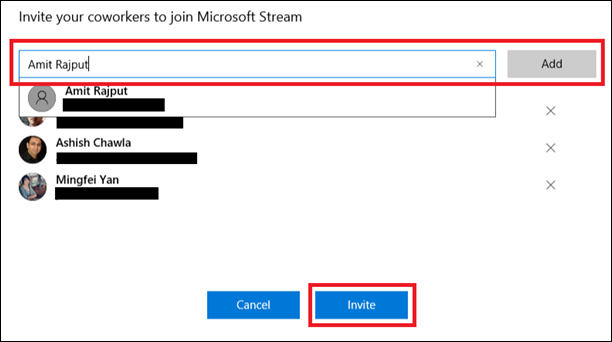 invite your co workers to use microsoft stream