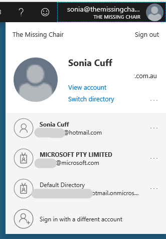how to use multiple sign in accounts inside of azure portal