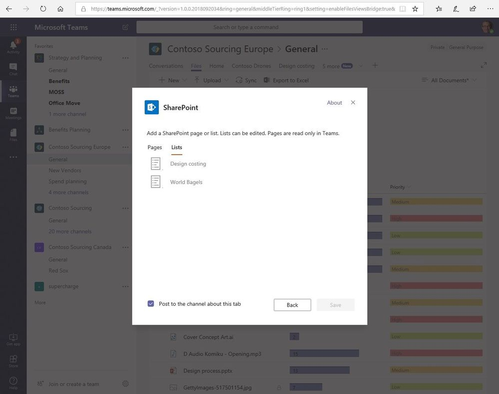 Add SharePoint pages and lists as tabs in Microsoft Teams.