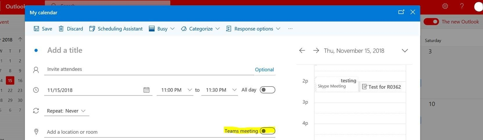 Why can't I see the Microsoft Teams Meeting add-in for