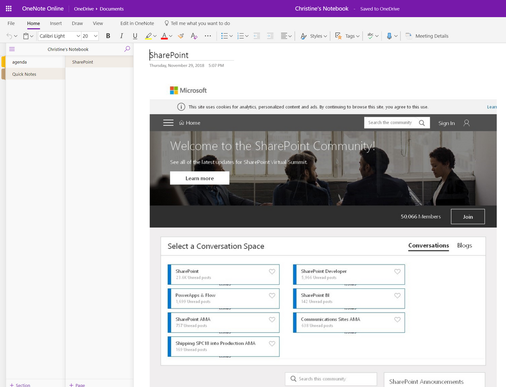 Pin a community to your OneNote notebook or Yammer page