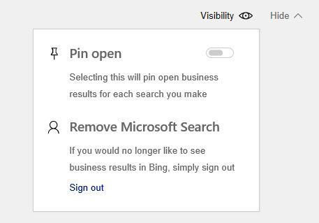 Pin Open Internal Search Results in Bing for Business Tenant