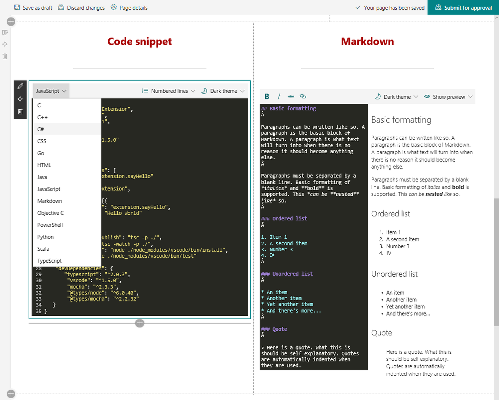 It's easy to add code and Markdown as you intended in edit mode (as shown above in the Code snippet and Markdown web parts (left to right respectively), and then all renders beautifully as intended when you publish the SharePoint page.