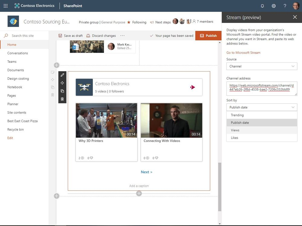 Sort how videos from a given channel appear on your SharePoint pages and news articles.