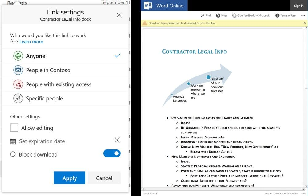 Create sharing links in OneDrive and SharePoint in Office 365 that enabling viewing of content, but block the ability for users to download.