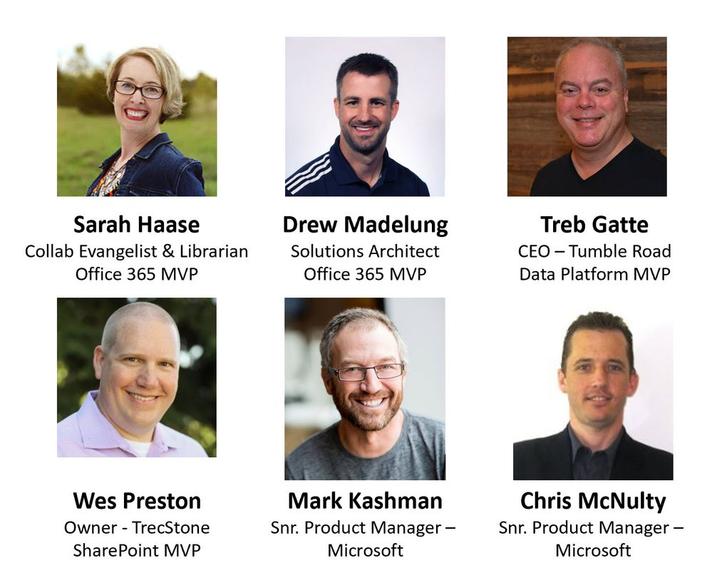 Left to right, top to bottom: Sarah Haase – corporate collaboration evangelist & MVP (U.S. Bank) [guest], Drew Madelung – Solutions Architect & MVP (Protiviti) [guest], Treb Gatte – CEO & MVP (Tumble Road) [guest], Wes Preston – Owner & MVP (TrecStone) [guest], Chris McNulty – senior product manager (SharePoint/Microsoft) [co-host], and Mark Kashman – senior product manager (SharePoint/Microsoft) [co-host].