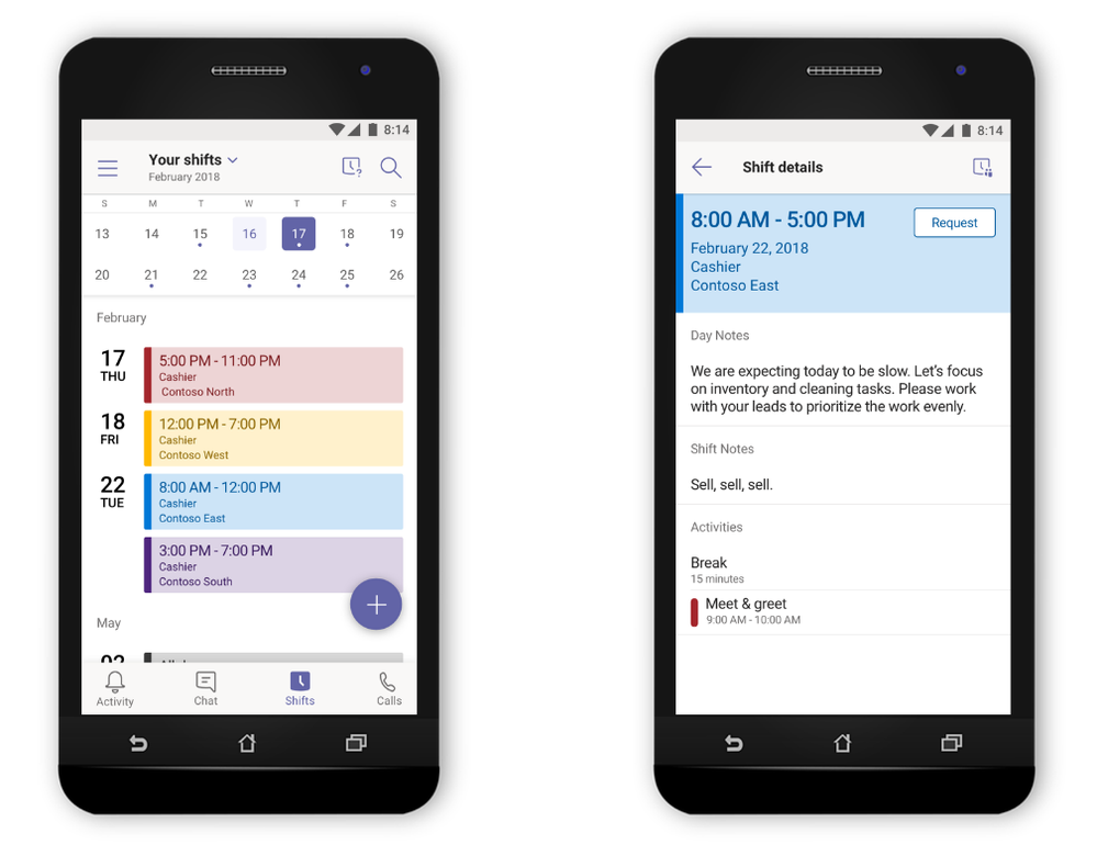 For managers, create and distribute schedules to your team. And for team members, easily review your schedule, and day or shift notes, directly from your mobile device.