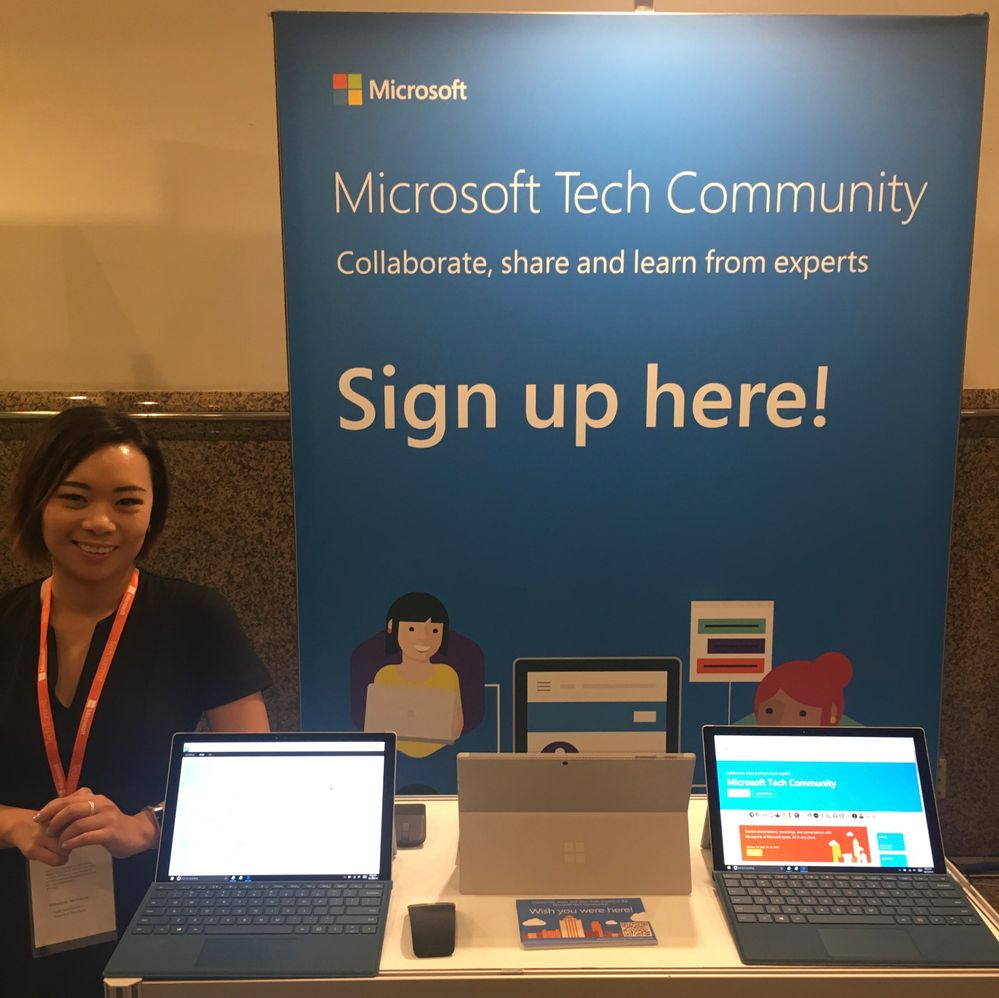 At the Microsoft Tech Community booth.