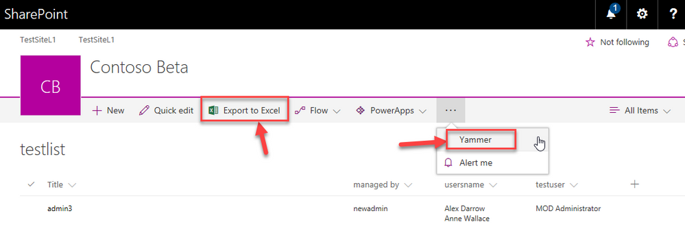 New rollout in SharePoint lists - Export to Excel and Yammer