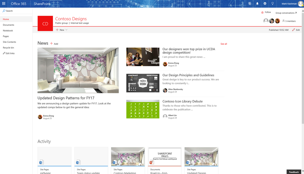 Update sharepoint online team sites office 365 groups Website home image