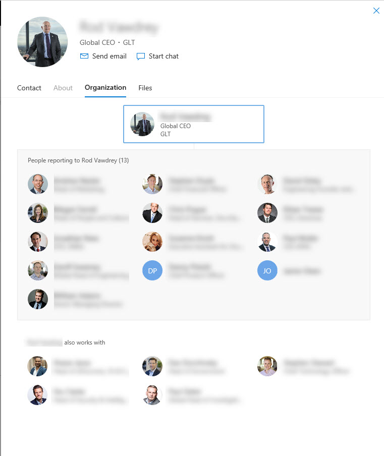 organisation chart in o365   sharepoint