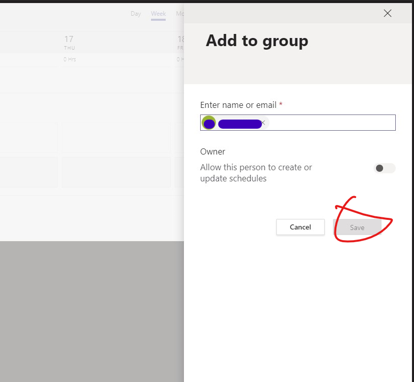 microsoft teams shifts add user bug - save button inactive.png
