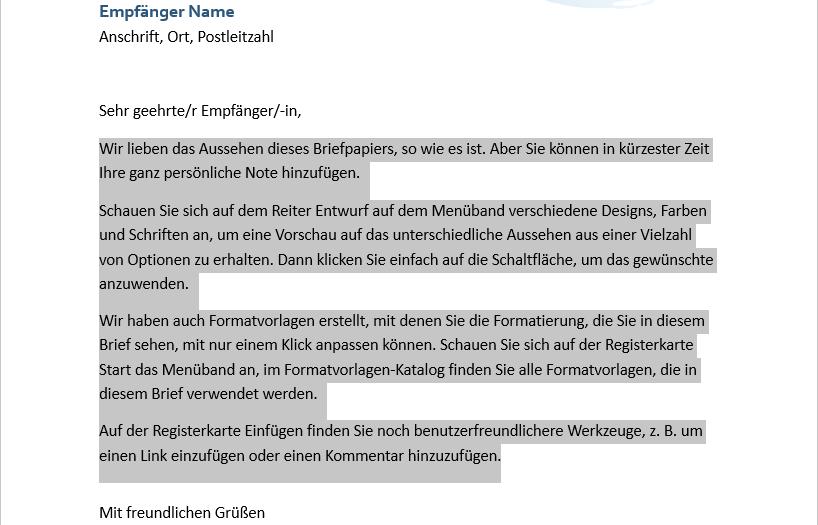 Office Templates Word Blue Spheres Letterhead German