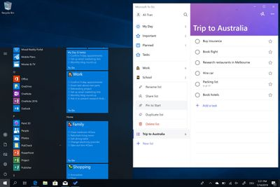 See all your lists in your Start menu