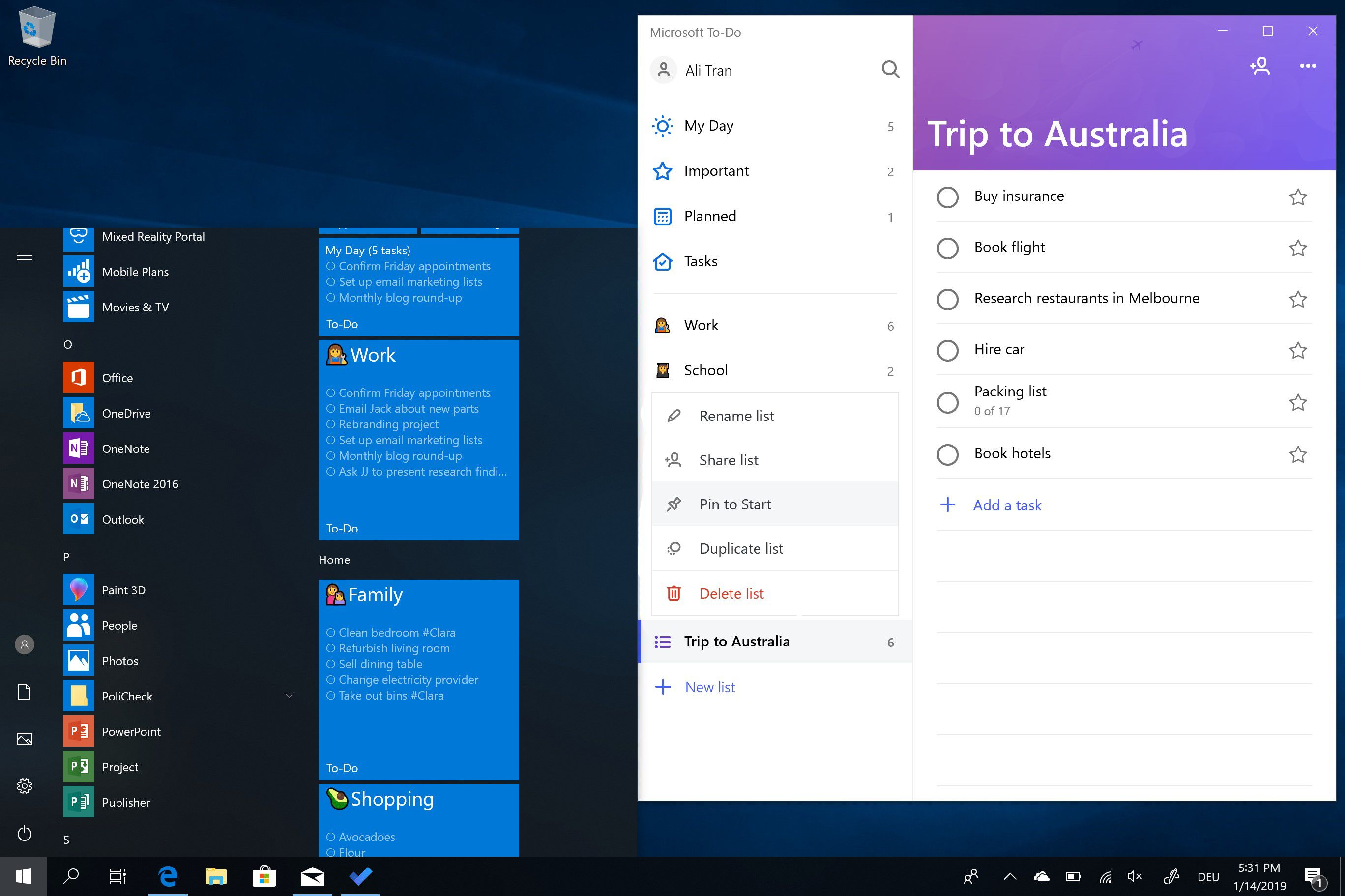 Microsoft To-Do new productivity features for January