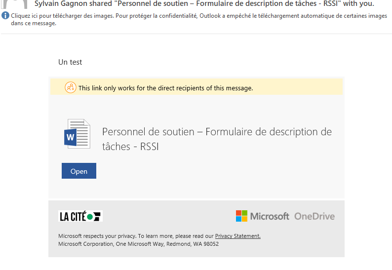 Shared notification email from Word is in English - Microsoft Tech