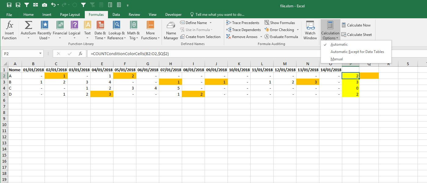 sum by color when colors are set by conditional formatting