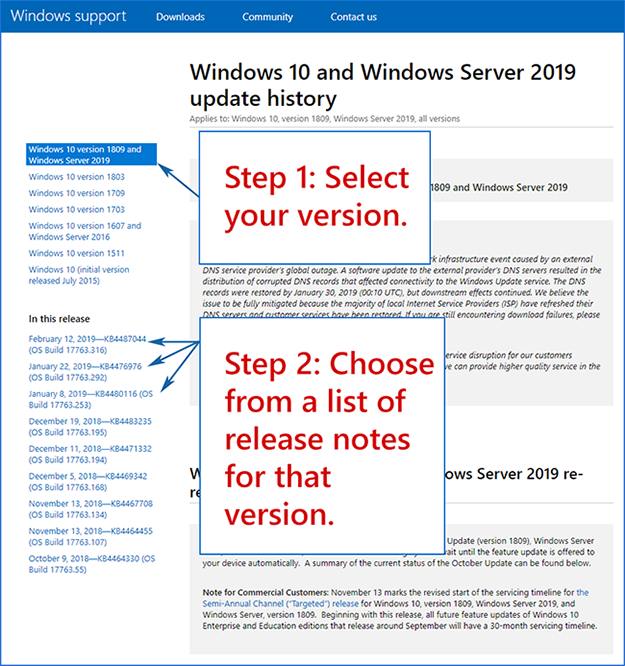 Getting to know the Windows update history pages - Microsoft