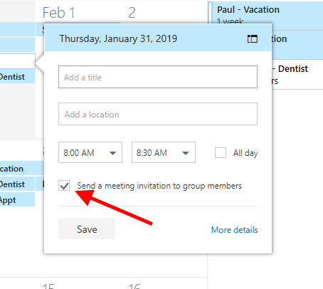 Group Calendar - Appointments / Not Invites - Microsoft Tech
