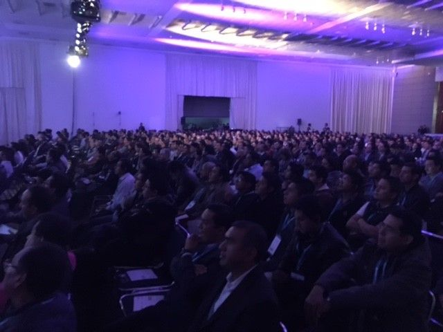 The audience listening to Catherine Boeger at the Mexico City keynote.