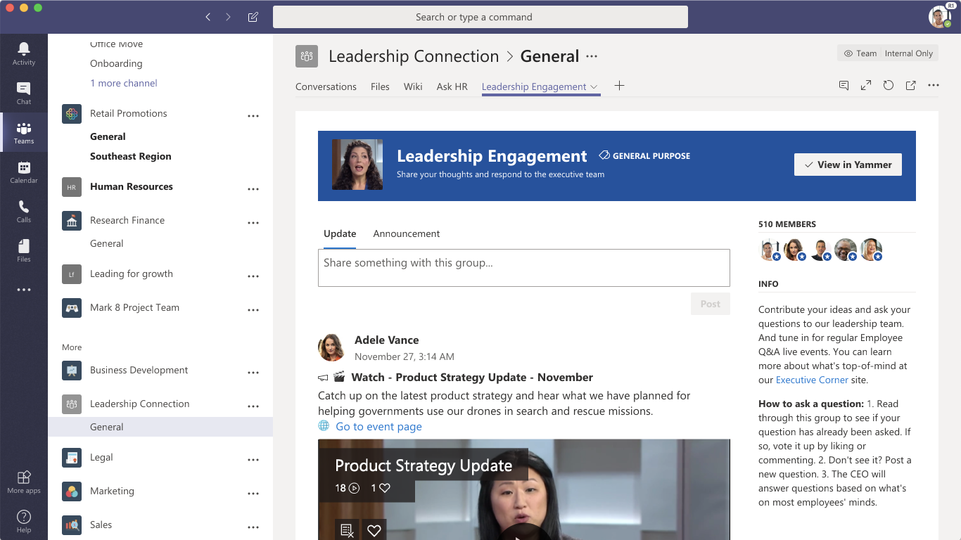 Yammer & Microsoft Teams: Ideas for using the Yammer tab in Teams