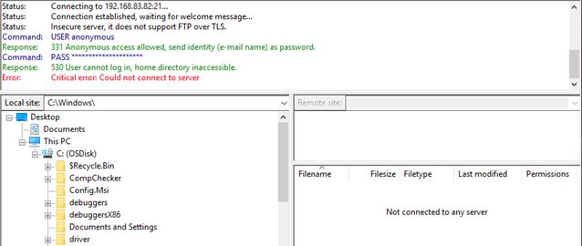 """FTP """"530 User cannot log in"""" error and solution"""