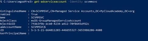 Installing SCVMM 2019 with a Group Managed Service Account