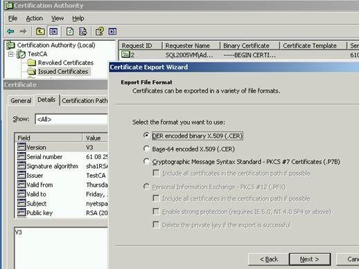Generating a trusted TDE Certificate in the proper format from a