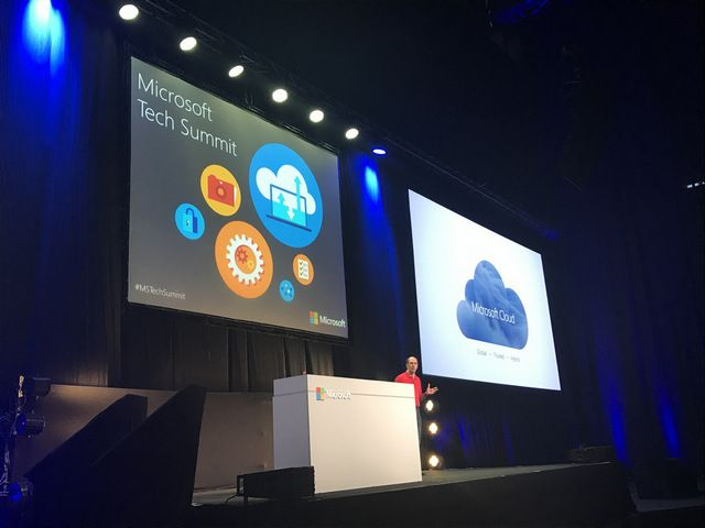 Scott Guthrie, Executive Vice President of Microsoft Cloud and Enterprise Group delivering the keynote at the Microsoft Tech Summit in Tel Aviv